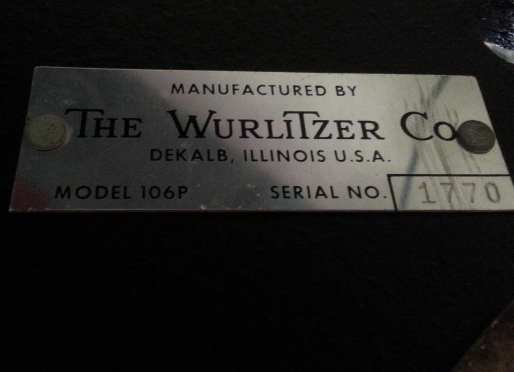 Wurlitzer 106P Serial Plate