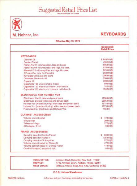 Clavinet Pricing 1