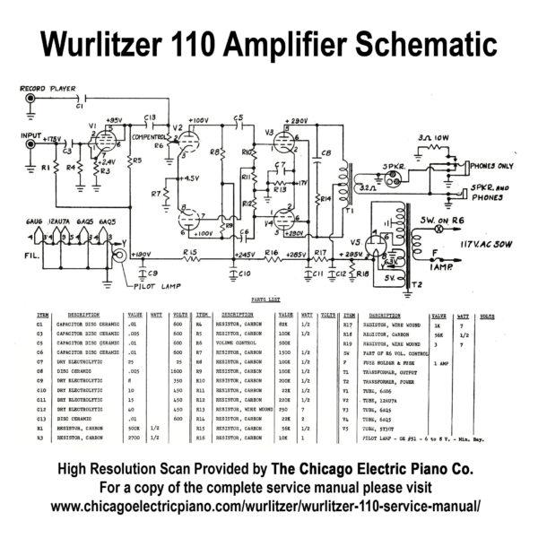 Wurlitzer Model 110 Amplifier Schematic